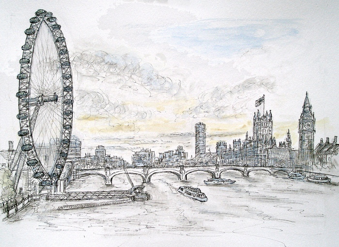 London eye houses of parliament pencil ink wash a3 size