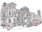 Old Bank of Engalnd Tavern in Fleet Street west [ pencil, ink and wash - A4, original available ]