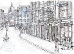 Punch Tavern, Ludgate Circus [ pencil, ink & wash - A4 size, original available ]