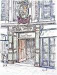 Punch Tavern - A [ pencil, ink and watercolour - A4+ original available. Limited edition print (1) on A3 ]