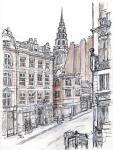 Fleet Street by Ludgate Circus [ pencil, ink and wash on paper- Original available A4 size ]