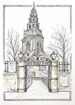 St Brides church of Fleet Street [ Ink and wash on paper, montage. A4 + size. Original available ]