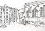 Temple Church and square, Middle Temple [ pencil and ink drawing on paper. A3 size, original available ]