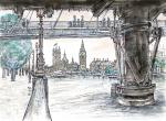 Charring Cross Foot Bridge, View of Parliament [ in & wash, selected for major exhibition - A3 size, original available - Prints available from Saatchi On Line gallery – see HOME page ]