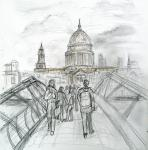 Millennium Bridge to St Pauls [ Pencil drawing - A4+ square size, original available ]