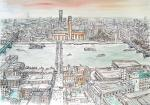 Tate Modern - river from St Pauls [ pencil, ink and wash - A3 size, original available - Prints available from Saatchi On Line gallery – see HOME page ]