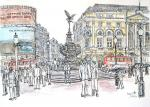 Piccadilly Circus and Eros [ pencil, ink and watercolour - A3 size, original available - Prints available from Saatchi On Line gallery – see HOME page ]