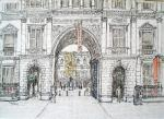 Royal Academy entrance [ pen and ink with wash - A3 size, original avalable ]