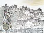 Edinburgh Castle & Piper [ pen and ink with wash - A4+ size, original available ]
