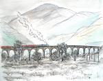Glenfinnan Viaduct [ pen and ink with wash - A4 size, original available ]