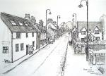 Newtonmore main street [ pencil, pen and ink with wash - A4 size, original available ]
