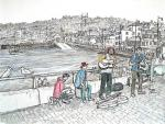 St Ives music [ pen and ink with wash - A3 size, original available - Prints available from Saatchi On Line gallery – see HOME page ]