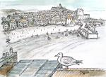 St Ives harbour [ pen and ink with watercolour - A4 size, original available ]
