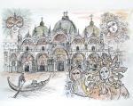 Venice Carnival Impression [ pen and ink with wash- given to a private collector ]