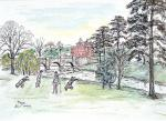 Golf at Brocket Hall [ pencil, ink and wash - A4 size, original available ]