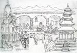 Kathmandyu study for etching [ pencil and ink- A3, study ]