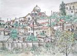 Dhora Village  [ pen and ink with wash - A4 size, original in private collection ]