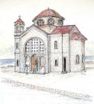 Ayios Georgios Peyias Chapel [ pen and ink with wash - 27 x 27cm, original available ]