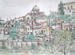 Dhora Village, Cyprus  [ pen, ink and wash- For a person who originated from this village ]