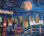 Comet over London in 1996 [ oil on canvas ]