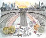 London Olympics 2012 - An Impression, the stadium [ pencil, pen and ink, watercolour on special paper. Original reserved. Prints available from Saatchi On Line gallery – see HOME page ]