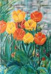 Tulips in the garden [ oil on canvas -an early work - not for sale ]