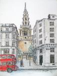 St Brides of Fleet Street [ Ink & wash on paper- For a couple getting married in the church in spring 2013 ]