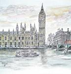Houses of Parliament across the river [ ink, pencil & wash on paper- detail of A4 size, original available ]
