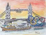 London Olympics 2013, Tower Bridge [ The special boat carrying the Olympic flame along rivet Thames, arrives at Tower Bridge for the last journey. Ink and watercolour ]