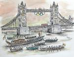 The Flotilla with the Olympic Flame arrives at Tower Bridge