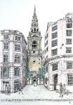 St Brides Church from Fleet Street [ pen, pencils and was on paper, size A3 ]