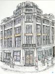Northcliffe House entrance, Tudor Street [ ink and wash on paper - A4 size. original available ]