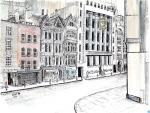 Fleet Street Old Buildings [ Ink, pencil and wash on watercolour paper ]