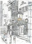 St Brides Tavern- C [ pencil, ink & wash - A4 size, original available ]