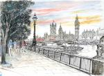 South Bank and Houses of Parliament [ pencil, ink & watercolour - A3 size, original available - Prints available from Saatchi On Line gallery – see HOME page ]