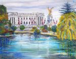 St James Park & the Palace [ Oil on canvas board ]